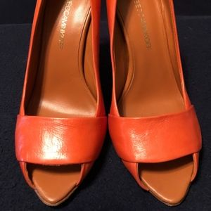 Orange Peep Toe Heels